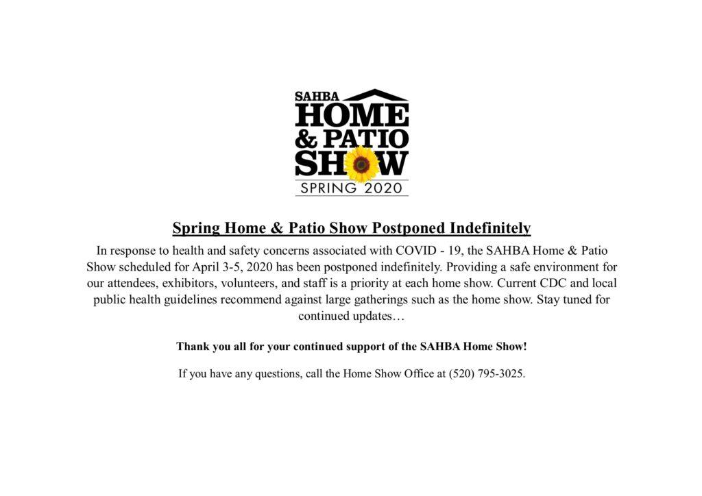 SAHBA Home & Patio Show Postponed